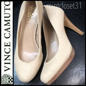 Vince Camuto Nude Leather Pumps